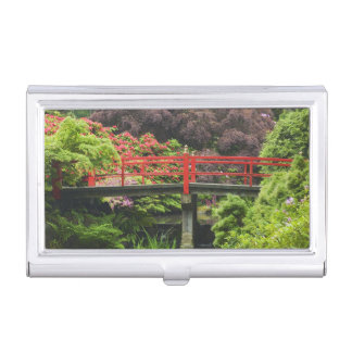 Heart Bridge with blossoming rhododendrons, Business Card Holder