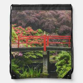 Heart Bridge with blossoming rhododendrons, Drawstring Bag