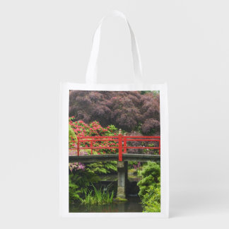 Heart Bridge with blossoming rhododendrons, Reusable Grocery Bag