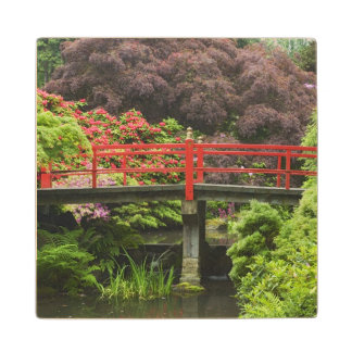 Heart Bridge with blossoming rhododendrons, Wood Coaster