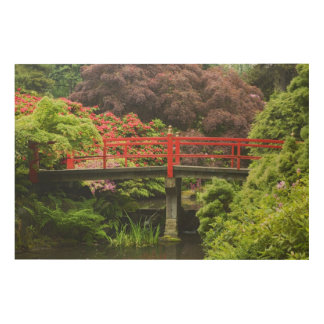 Heart Bridge with blossoming rhododendrons, Wood Print
