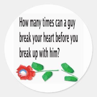 Heart Broken Round Sticker
