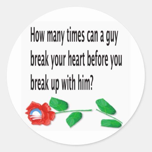 Heart Broken Round Stickers
