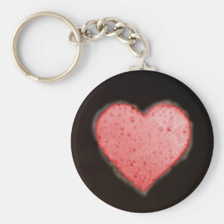 HEART BUBBLES by SHARON SHARPE Basic Round Button Key Ring
