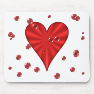 Heart & Bubbles (White) Mouse Mat