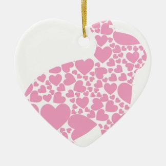 Heart Bunny Ceramic Heart Decoration
