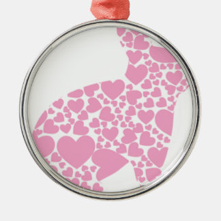 Heart Bunny Silver-Colored Round Decoration