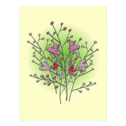 Heart bush hearts shrub post cards