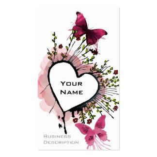 Heart, butterflies and flowers business cards