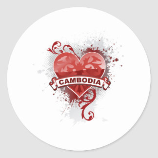 Heart Cambodia Classic Round Sticker