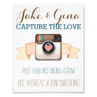 Heart Camera Instagram Watercolor Hashtag Poster Photo Art