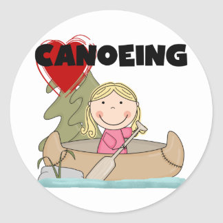 Heart Canoeing Tshirts and Gifts Classic Round Sticker