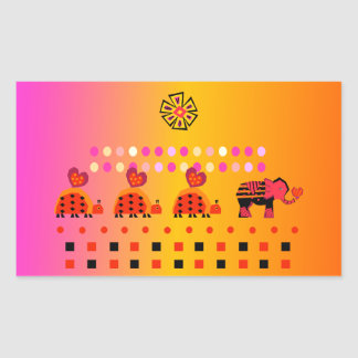 Heart Caravan w/ Background Rectangular Sticker