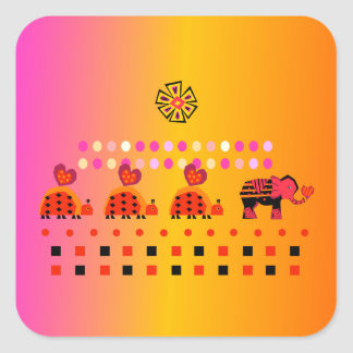 Heart Caravan w/ Background Square Sticker
