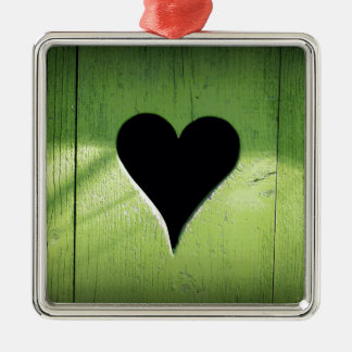 Heart Carved from Bright Green Wooden Door Silver-Colored Square Decoration
