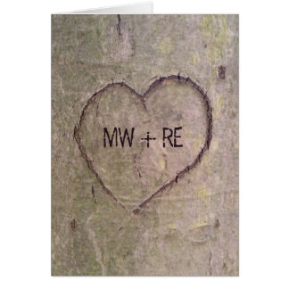 Heart Carved in a Tree Valentine Greeting Cards