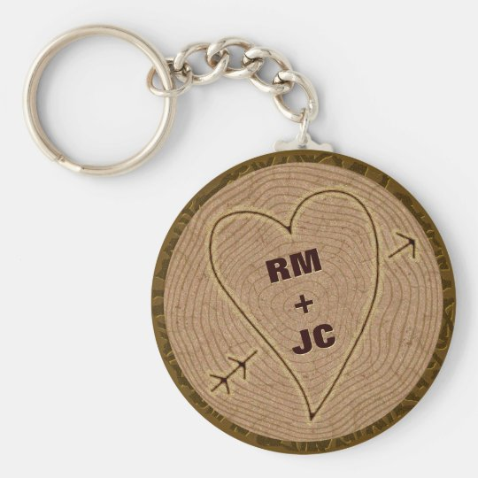 Heart Carved Initials Wood Tree Rings Personalised Basic