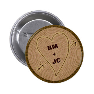 Heart Carved Initials Wood Tree Rings Personalized Pins