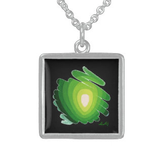 Heart Chakra Green on Black Square Necklace