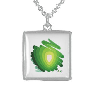 Heart Chakra Green on White Square Necklace