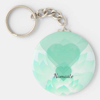 Heart Chakra Lotus Namaste Key Chain