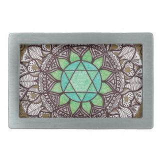 Heart Chakra Mandala Rectangular Belt Buckle