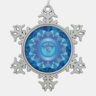 Heart Chakra Pewter Snowflake Ornament
