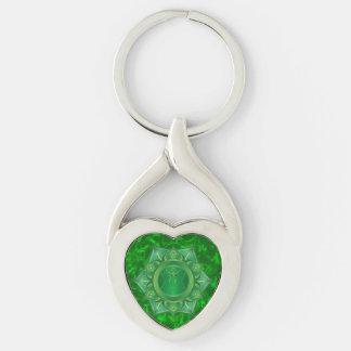 Heart Chakra Twisted Heart Metal Keychain