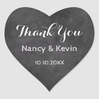 Heart chalkboard wedding thank you stickers