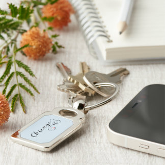 Heart Chicago Keyring, Illinois Silver-Colored Rectangle Key Ring