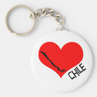 Heart Chile llavero Basic Round Button Key Ring
