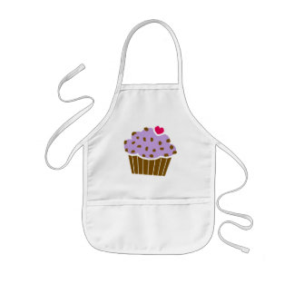 Heart Choco Chip Blueberry Cupcake Kids Apron