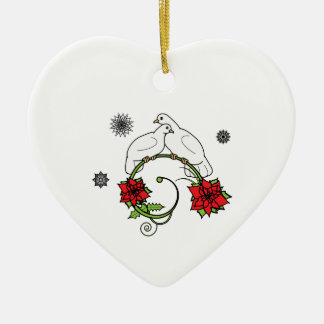 Heart Christmas Ornament: Doves and Poinsettias Christmas Ornament