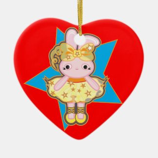 Heart Christmas tree decoration with dancer rabbit