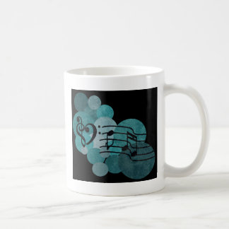 Heart clefs, musical note and polka dots – teal coffee mug