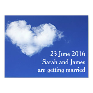 Heart cloud Modern Photo Save the Date Postcard 17 Cm X 22 Cm Invitation Card