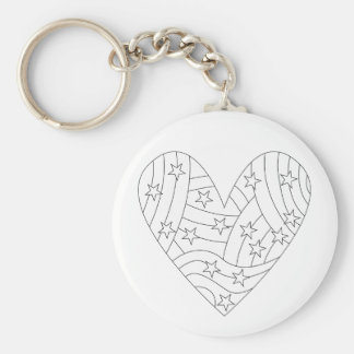 Heart Coloring Design Basic Round Button Key Ring