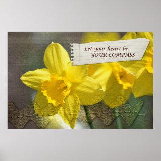 Heart Compass Daffodils Print
