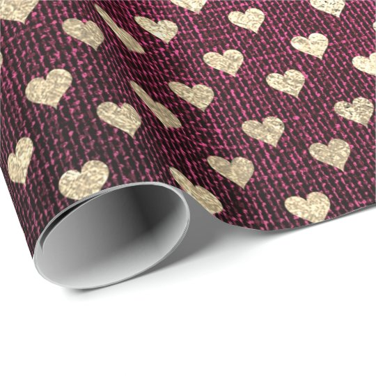 Heart Confetti Metallic Burgundy Red Gold Linen Wrapping
