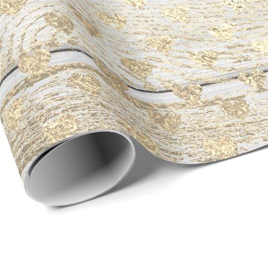 Heart Confetti Metallic White Gold Wood Foxier Wrapping Paper