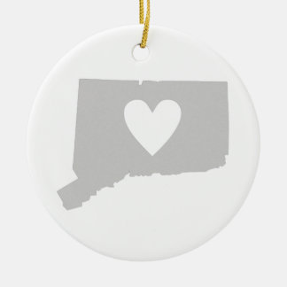 Heart Connecticut state silhouette Christmas Ornament