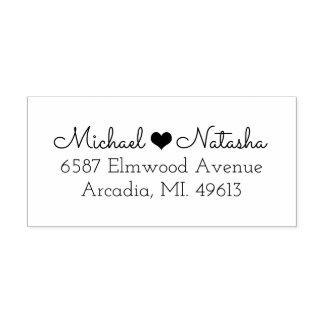 Heart Couple Return Address Rubber Stamp