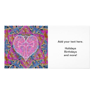 Heart Cross Pattern in Pink Customised Photo Card