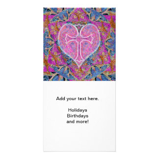 Heart Cross Pattern in Pink Picture Card