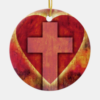 Heart cross round ceramic decoration