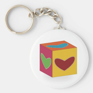 Heart Cube Basic Round Button Key Ring