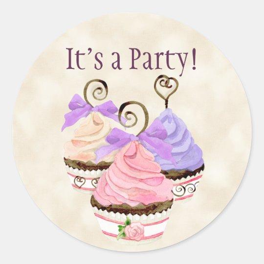 Heart Cupcake Birthday Party Invitation Seal