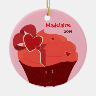 Heart Cupcake Christmas ornament with name & year