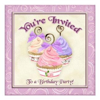 Heart Cupcake Trio Birthday Party Invitation