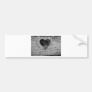 Heart cutout in wood bumper sticker